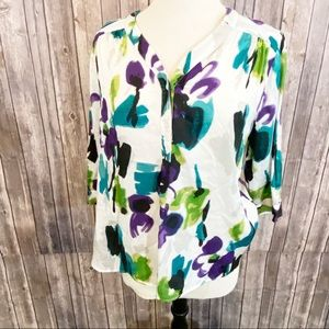 🌼Relativity Floral Boho Tunic Top Purple Green